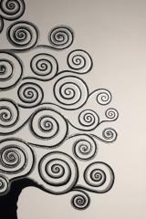 Baum schwarz-weiß: Acryl, Spachtel, Art-metall, 2 x 50 x 100 cm