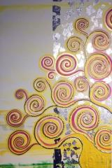Baum gelb: Acryl, Spachtel, Art-metall  50 x 100 cm