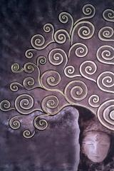 Baum violett: Acryl, Spachtel 120 x  80 cm