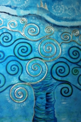 Baum blau: Acryl, Spachtel, Art-metall 100 x 100 cm